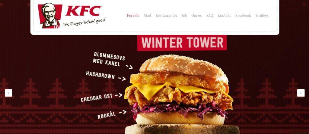 Danish website of KFC