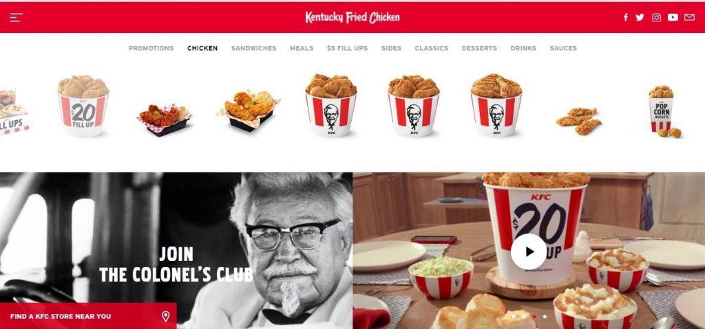 American website of KFC