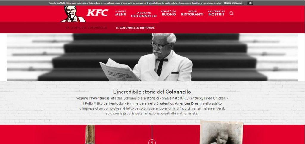 Italian website of KFC